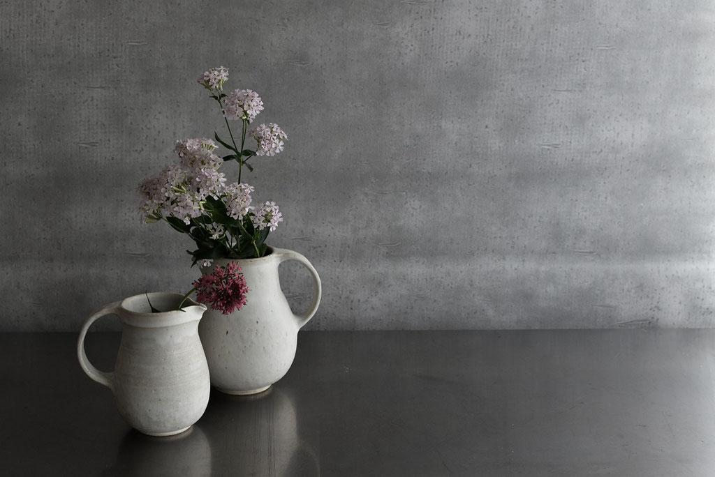 たくまポタリーのたっぷりサイズのピッチャーに花を生ける