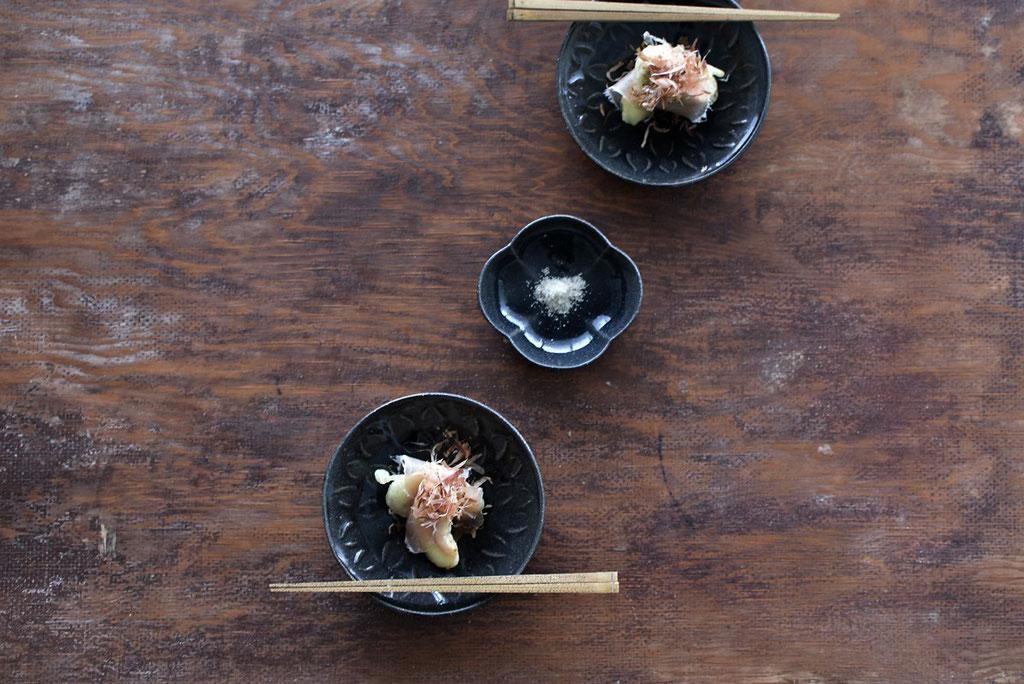 生ハム巻き 無花果の天ぷら かつおぶしのせ