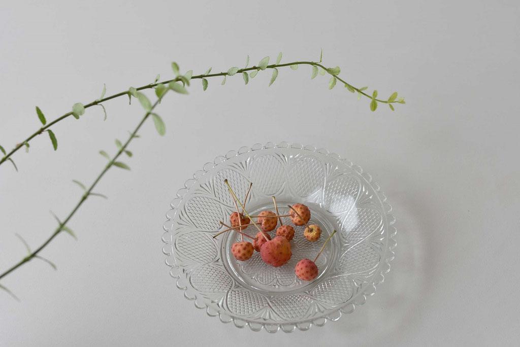 ヤマボウシの実が赤く色づいて落ちていたのでガラスの器に