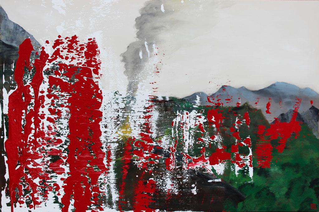 Christian Feig, Der Tanz, 2017, Acryl auf Leinwand, aus der Serie, Suche, 120 x 180 cm