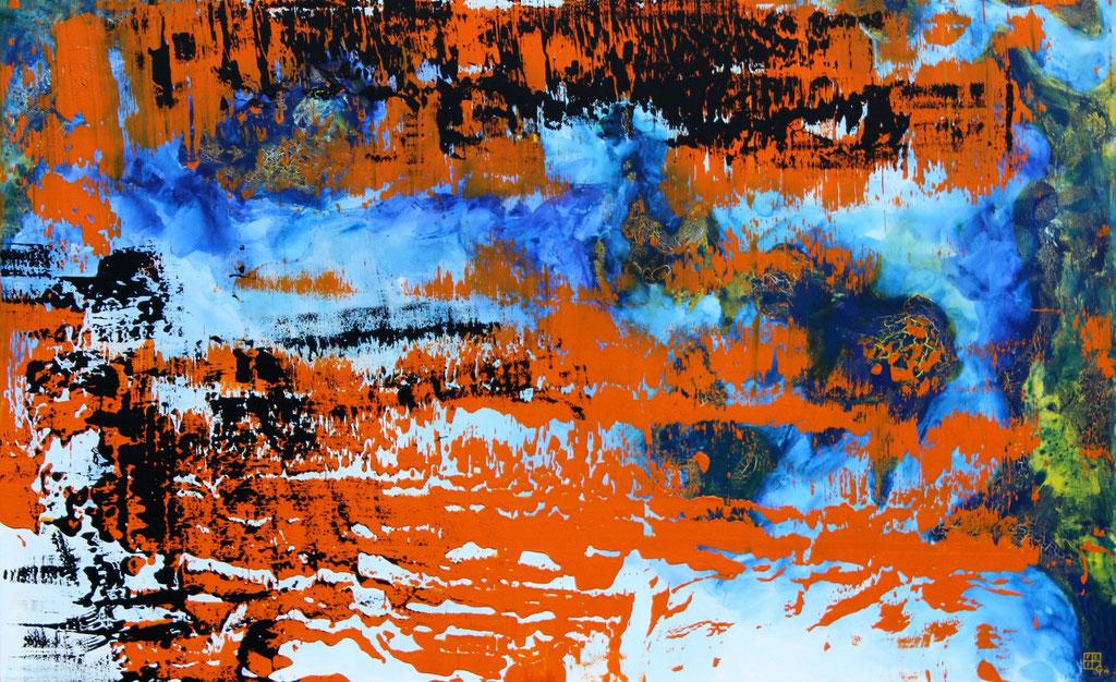 Christian Feig, London, 2014, aus der Serie: Europa 2087, Acryl auf Leinwand, 112 x 180 cm