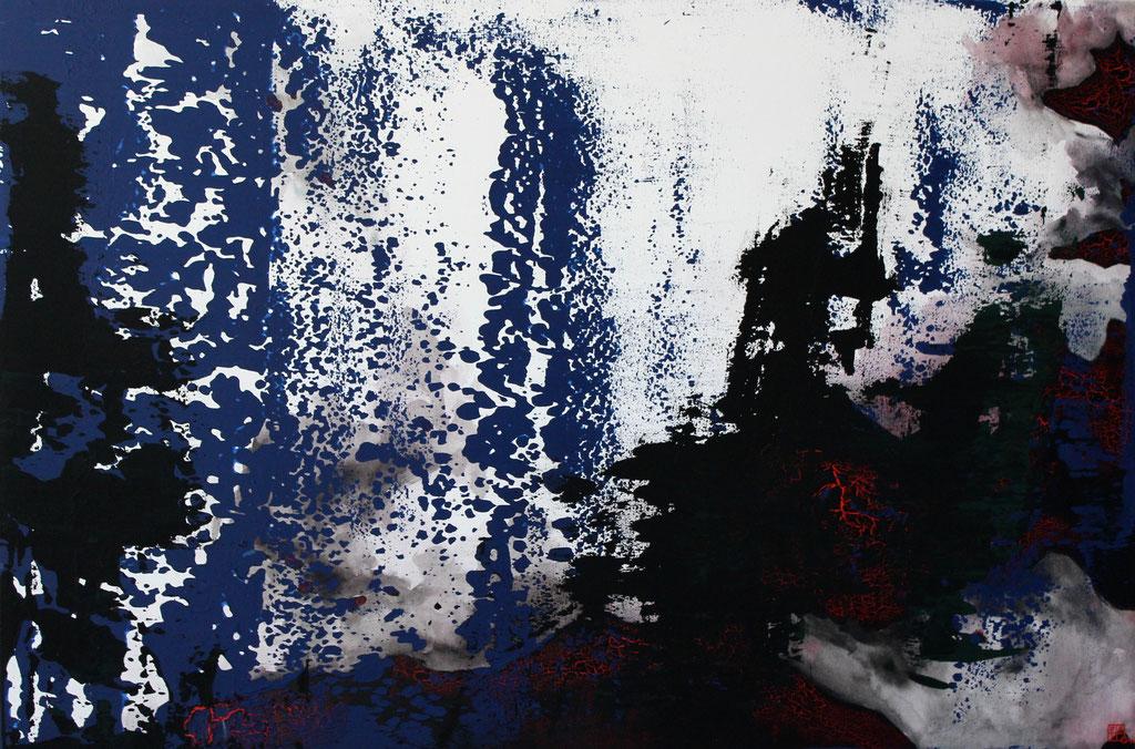 Christian Feig, Madrid, 2014, aus der Serie, Europa 2087, Acryl auf Leinwand, 120 x 180 cm