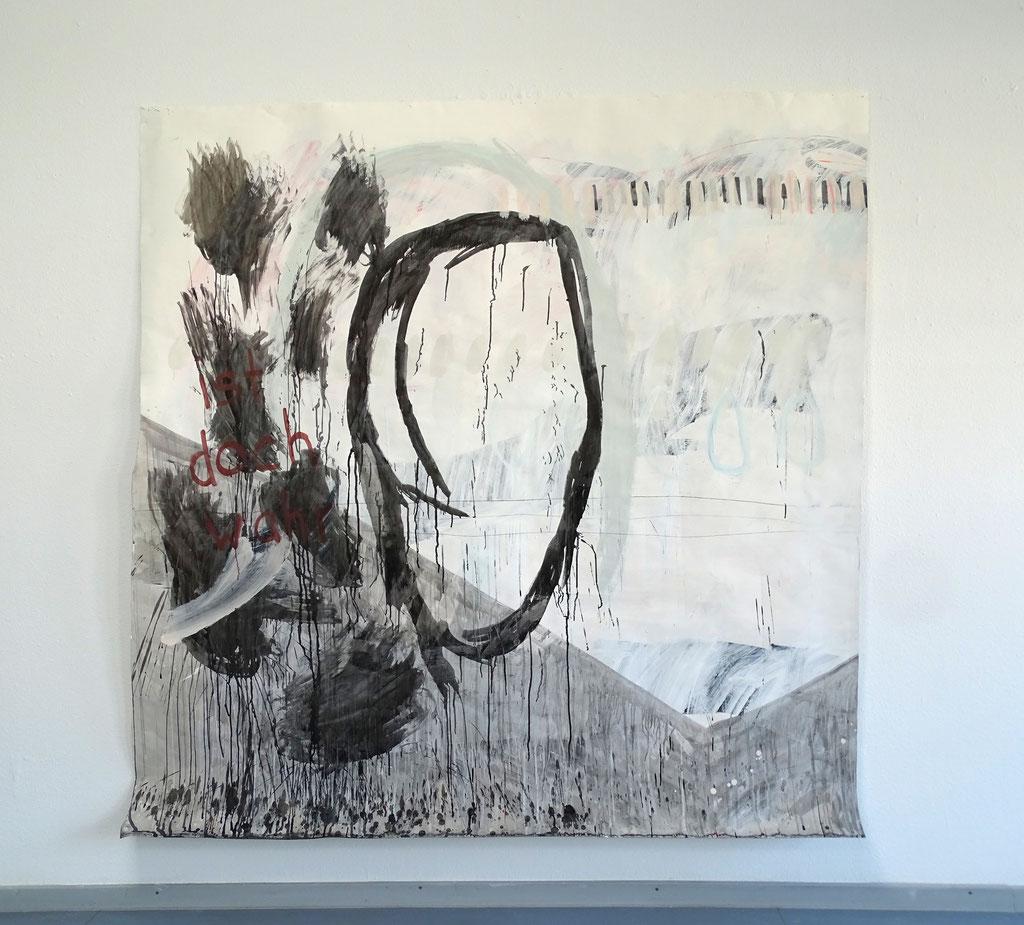 ist doch wahr  Acryl, Graphit, Kreiden auf Papier 213 cm x 220 cm