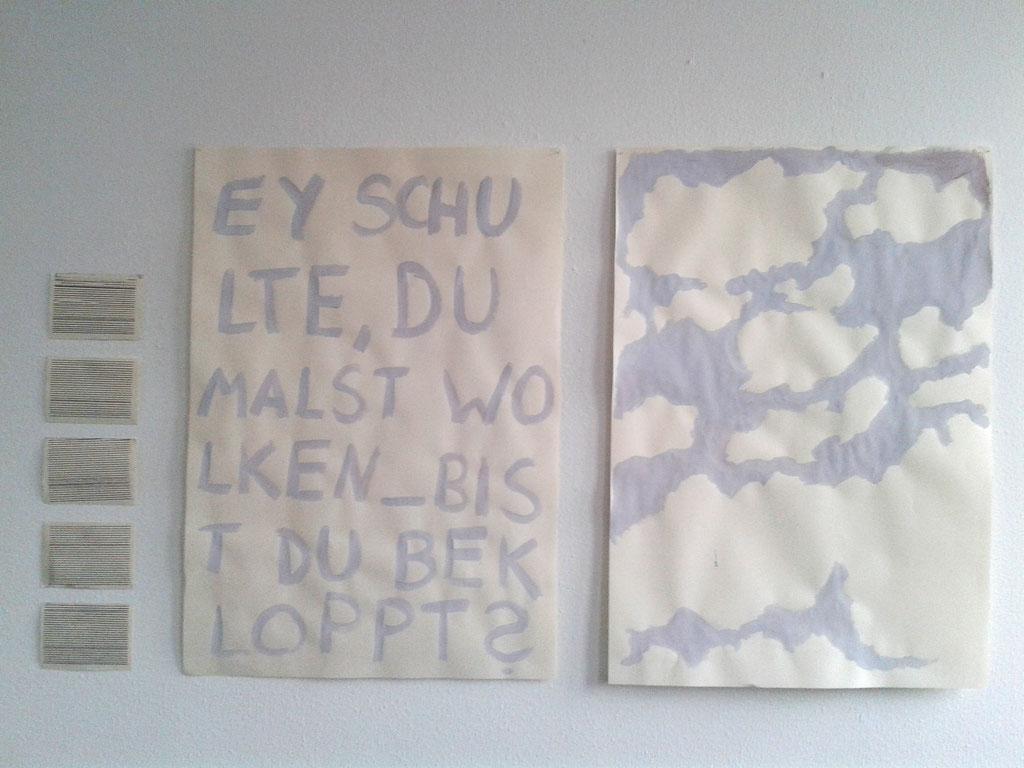 Wolken Acryl auf Papier, 4 Schreibmaschinenblätter 2x 100 cm x 70 cm, 4 Blätter  12,5 cm x 17,5 cm