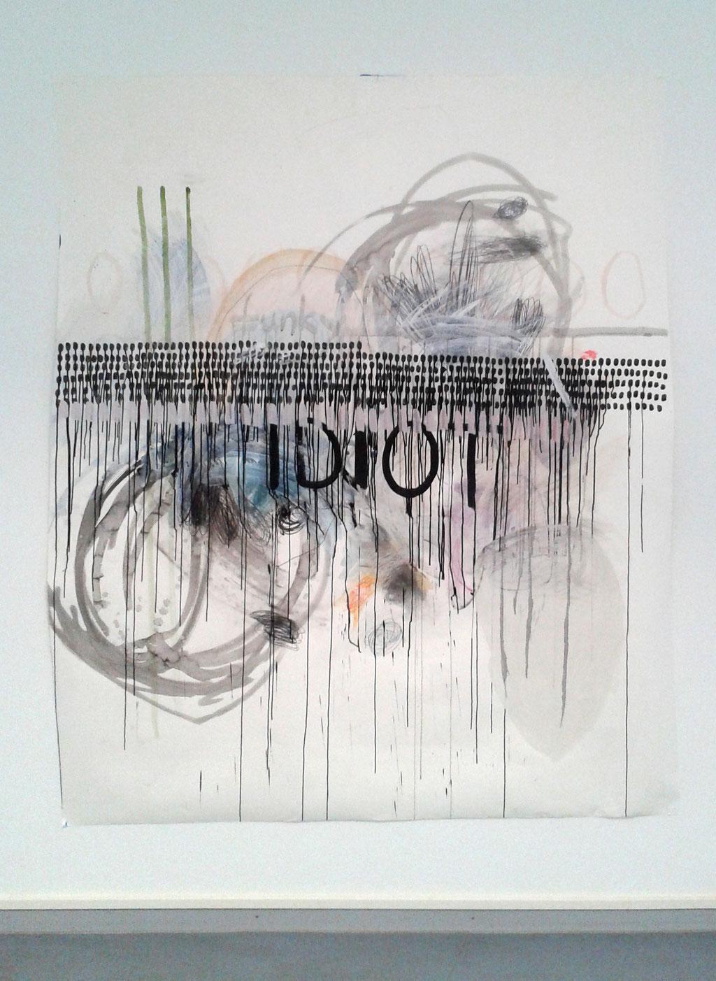 funky IDIOT Acryl, Aquarell, Graphit, Buntstifte, Kreiden, Tusche auf Papier 218 cm x 183 cm