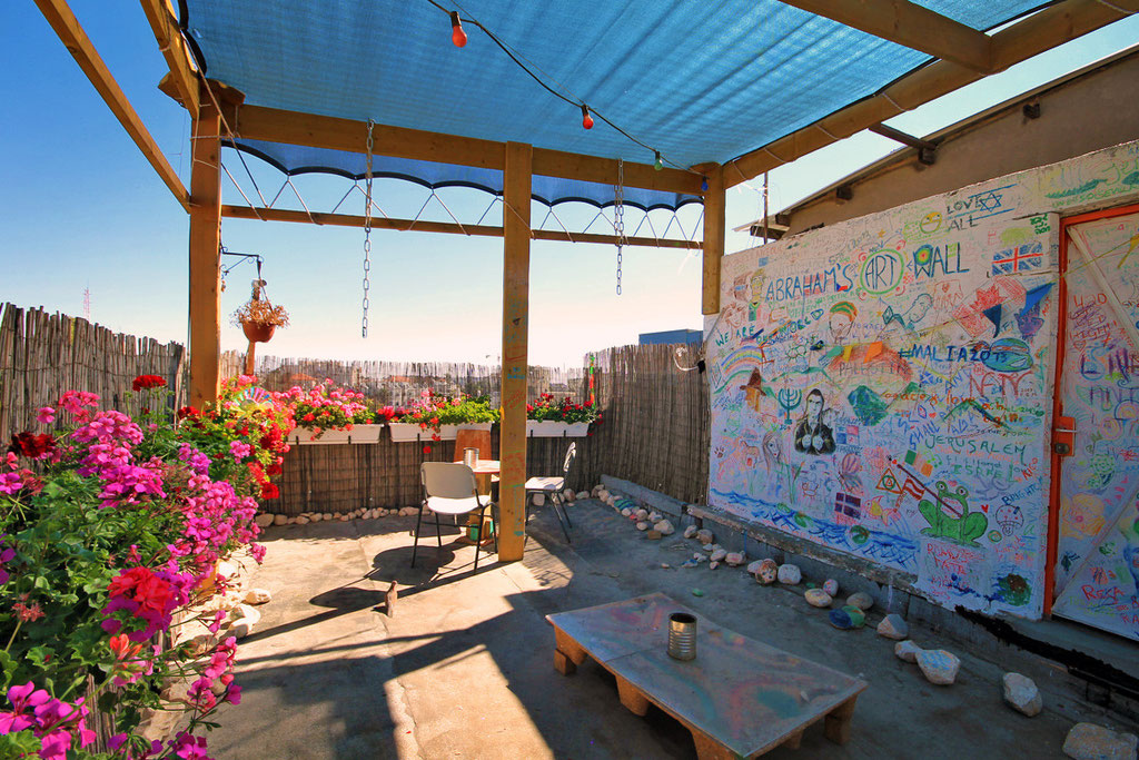 The rooftop at Abraham Hostel, perfect place to relax and get a tan... Jerusalem, Israel © Sabrina Iovino | JustOneWayTicket.com