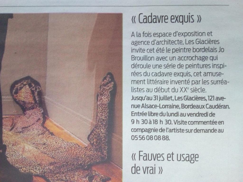 "SUD OUEST, Sortir en Gironde, Vendredi 26 Mai 2017, ""Cadavre Exquis"""