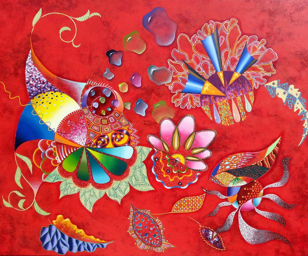 Bouquet vermillon, 100x81cm, disponible
