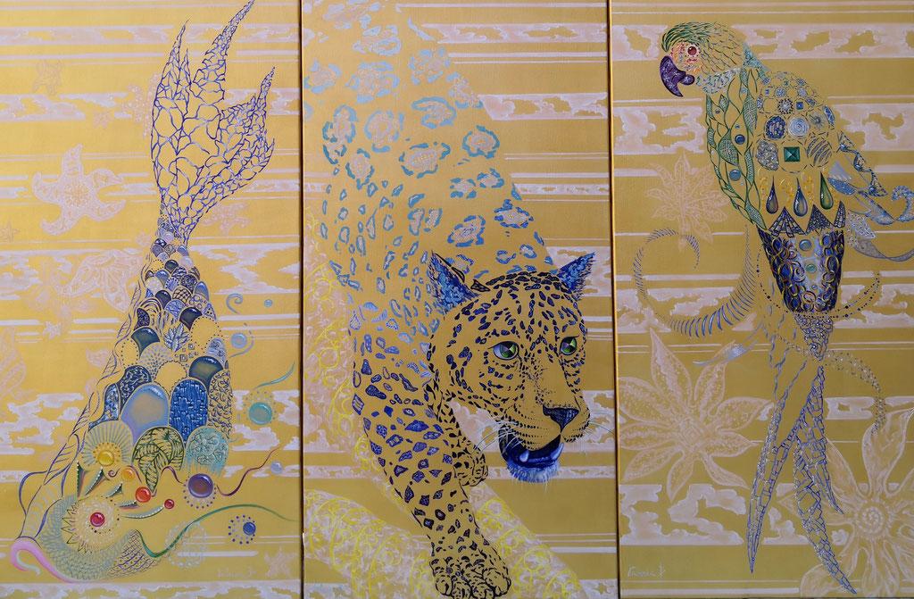 Trio doré 3x(100x50), réservé