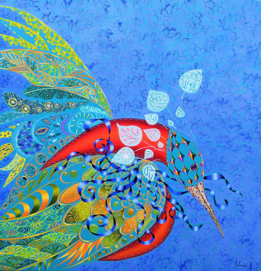 L'oiseau rare, 100x100cm, disponible