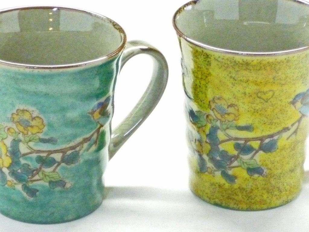 九谷焼 【ペアマグカップ】 金糸梅に鳥 緑&黄塗り 裏絵
