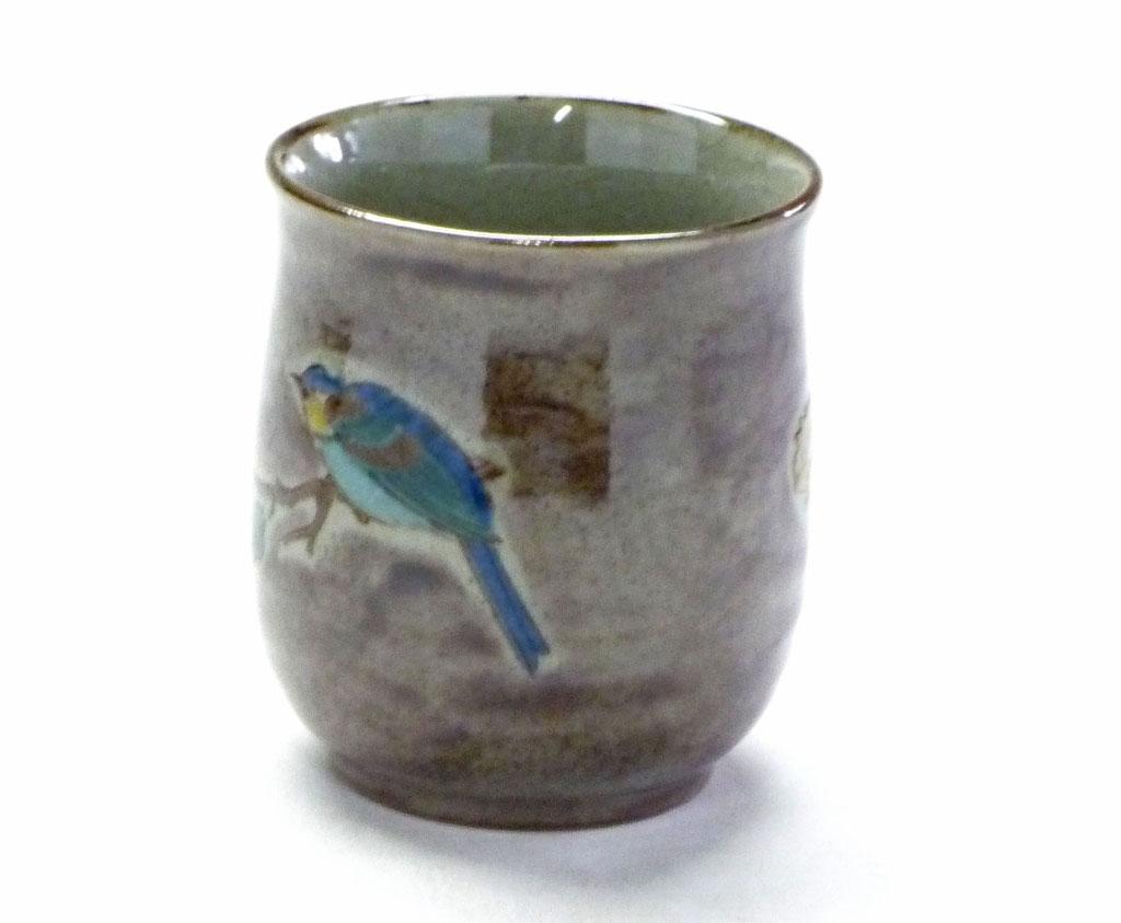 九谷焼【お湯呑】大 金糸梅に鳥 紫塗り【裏絵】