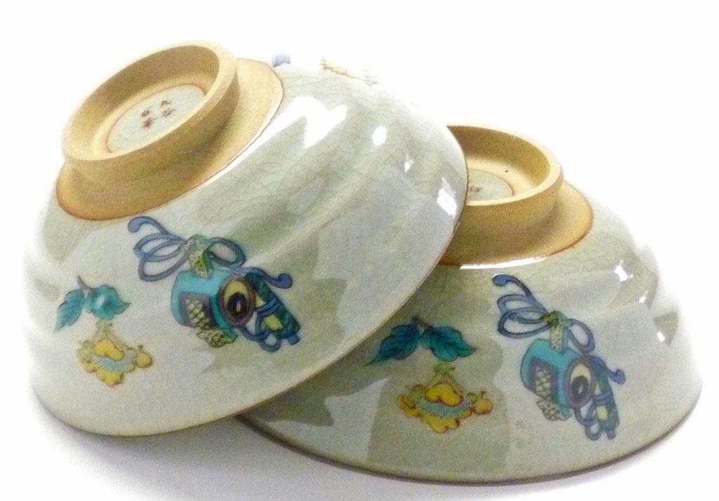 九谷焼『ペア飯碗』金糸梅に鳥