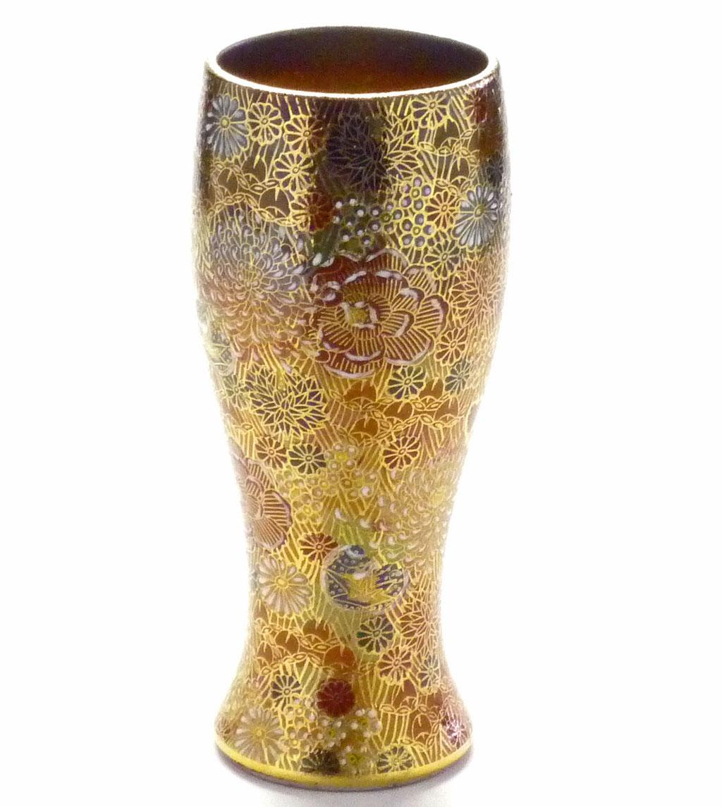 九谷焼【特大ビアカップ・ビアグラス】 加賀のお殿様・お姫様気分(金花詰)