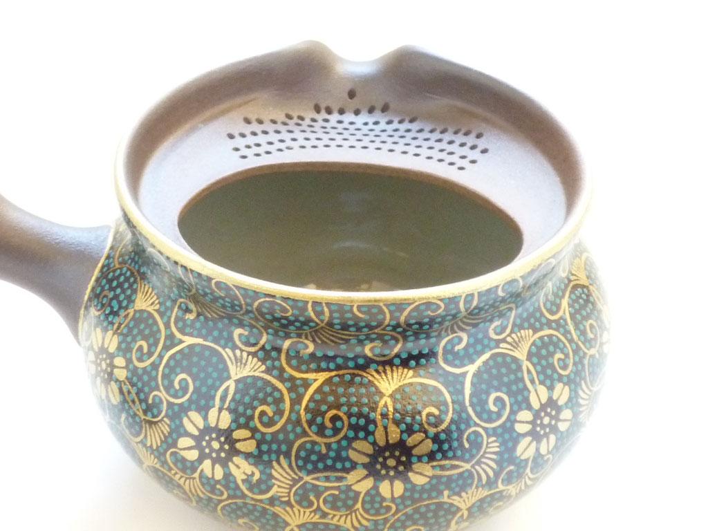 九谷焼通販 お洒落な急須 茶器 萬古焼 至高急須 手打ち青粒 茶漉しの図