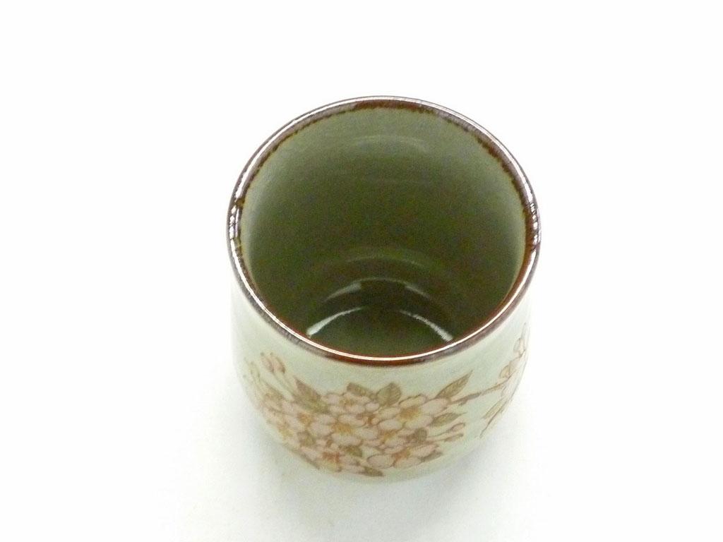 九谷焼【お湯呑】小 しだれ桜【裏絵】