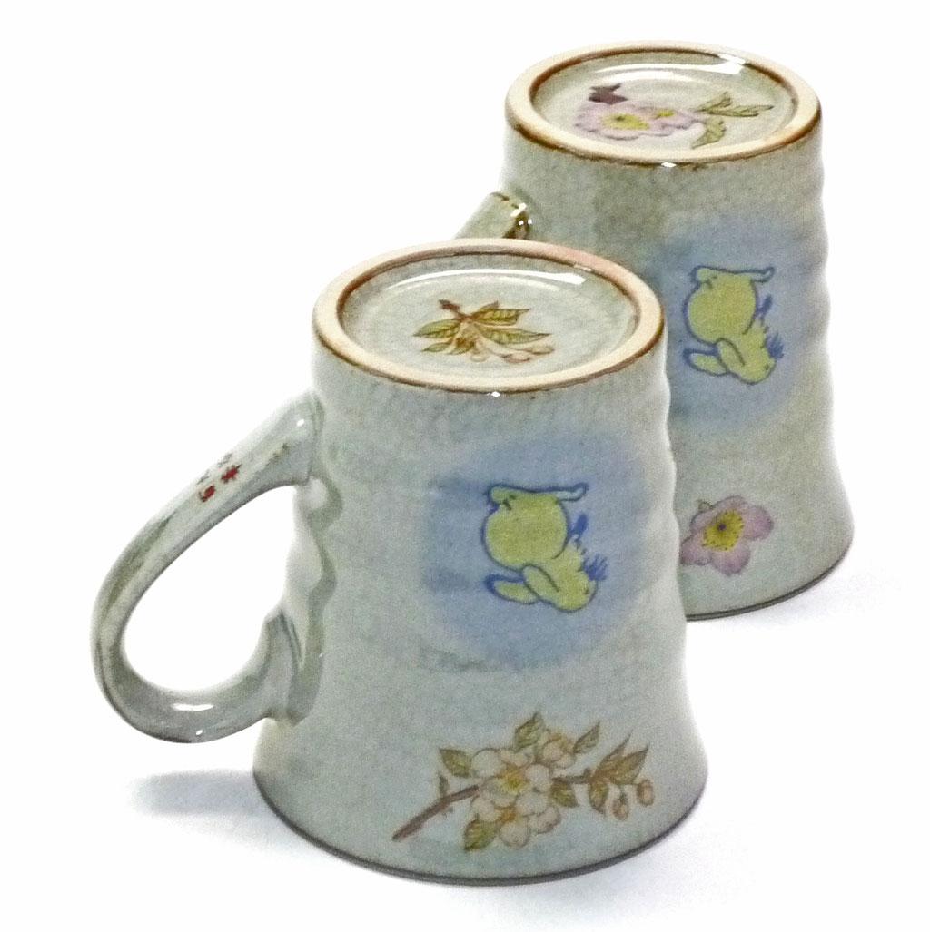 九谷焼通販 ペアマグカップ マグ 白兎しだれ桜&ソメイヨシノ 裏絵 正面の図