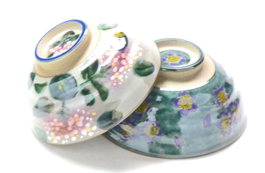 九谷焼 通販 おしゃれ 飯碗 ご飯茶碗 ペア飯碗 がく紫陽花ピンク+ピンク&グリーン地桜 裏絵