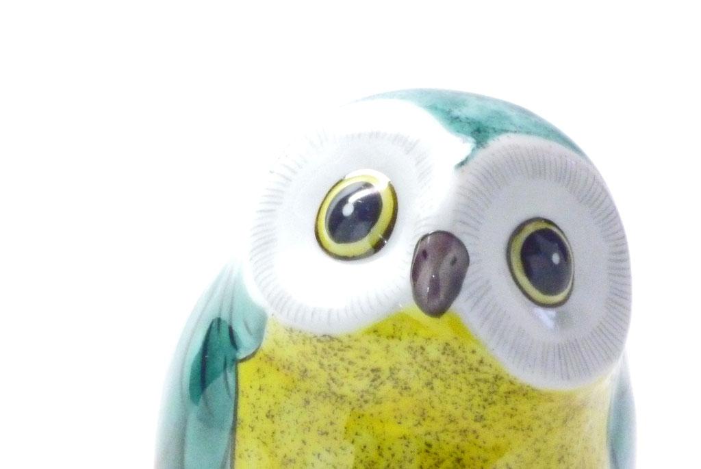 九谷焼通販 おしゃれ ギフト 置物 縁起物 月見上げ 梟 フクロウ ふくろう 緑彩 4寸 裏書き 目の表情