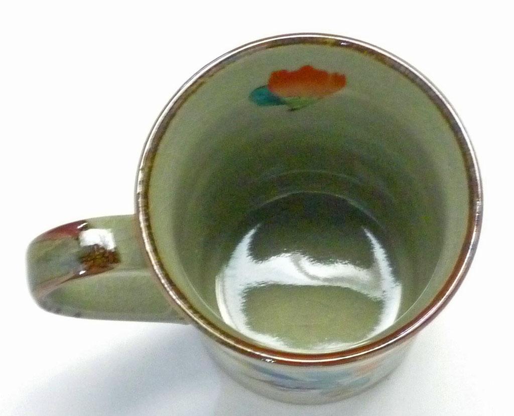 左利き様用 九谷焼 マグカップ 椿に鳥 中裏絵