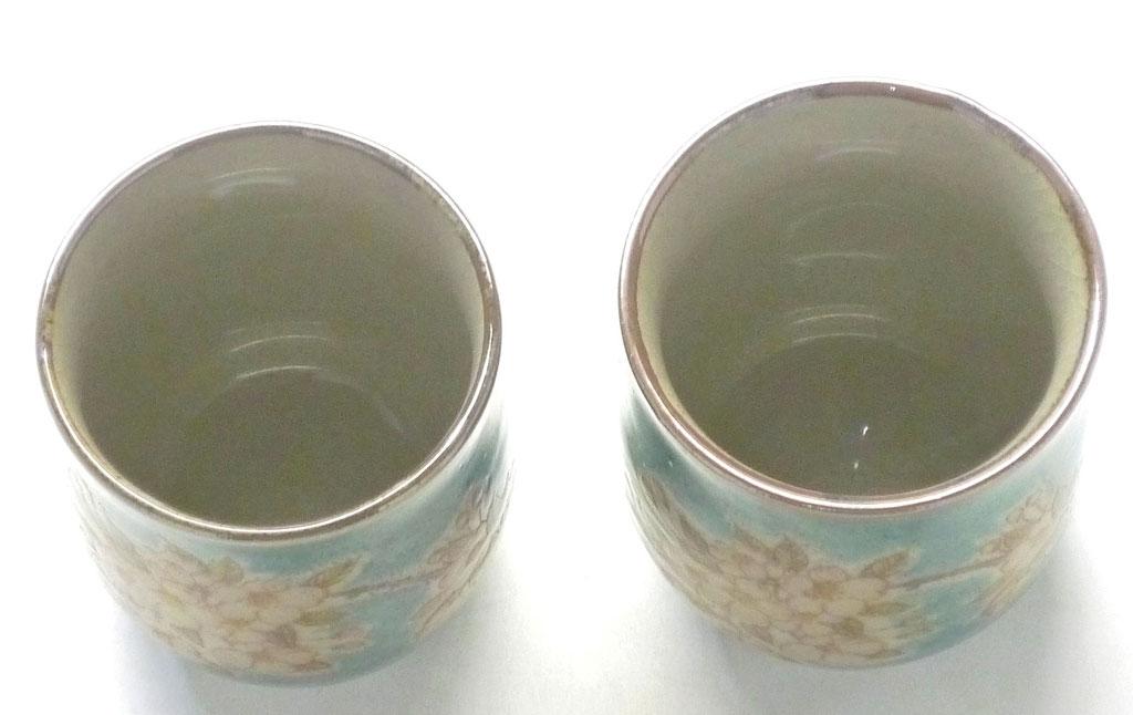 九谷焼【夫婦湯呑】しだれ桜 緑塗り『裏絵』