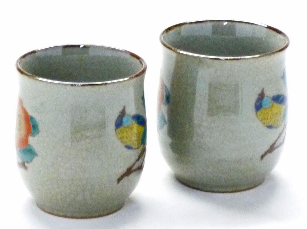 九谷焼『夫婦湯呑』椿に鳥『裏絵』