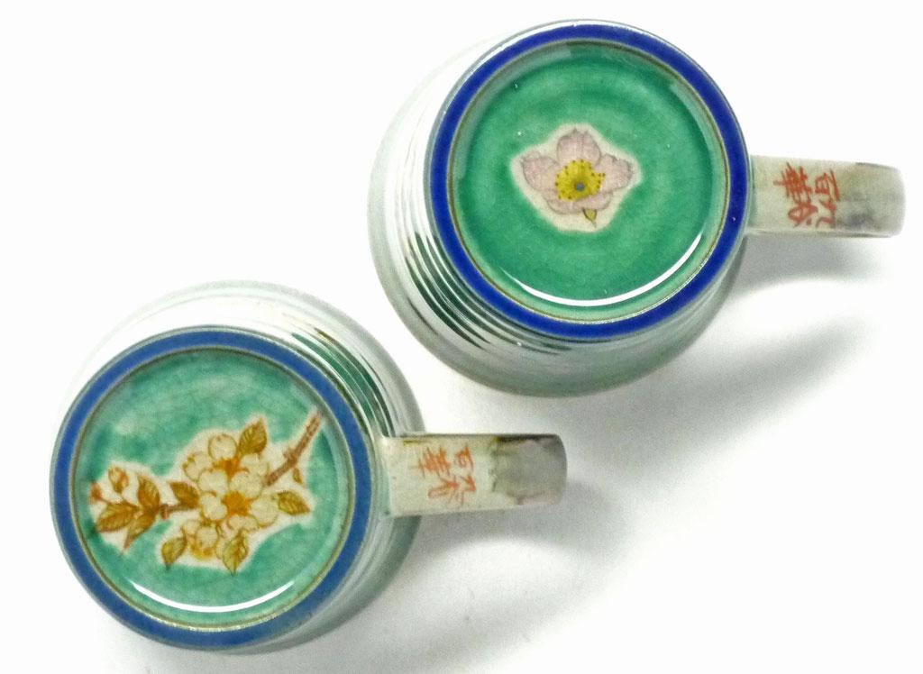 九谷焼通販 おしゃれ ギフト マグカップ マグ ペア 夫婦 しだれ桜緑塗り&ソメイヨシノ緑塗り 裏絵 裏絵の図