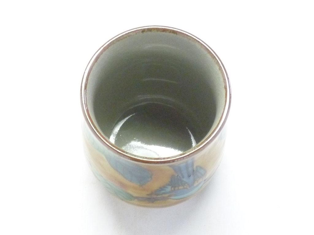九谷焼【お湯呑】大 吉田屋(濃い塗り)花鳥 裏絵