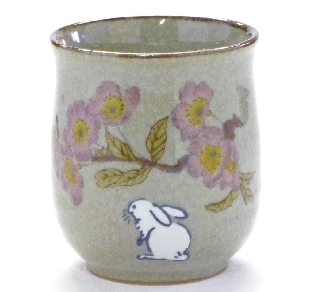 九谷焼通販 お湯呑 湯飲み ゆのみ茶碗 おしゃれ 大 白兎ソメイヨシノ 裏絵 正面の図