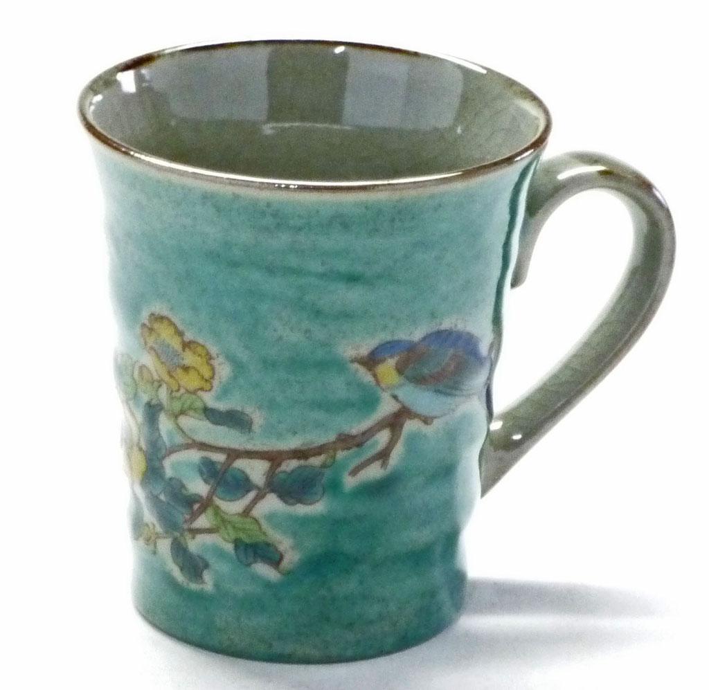 九谷焼【マグカップ】金糸梅に鳥緑塗り【裏絵】