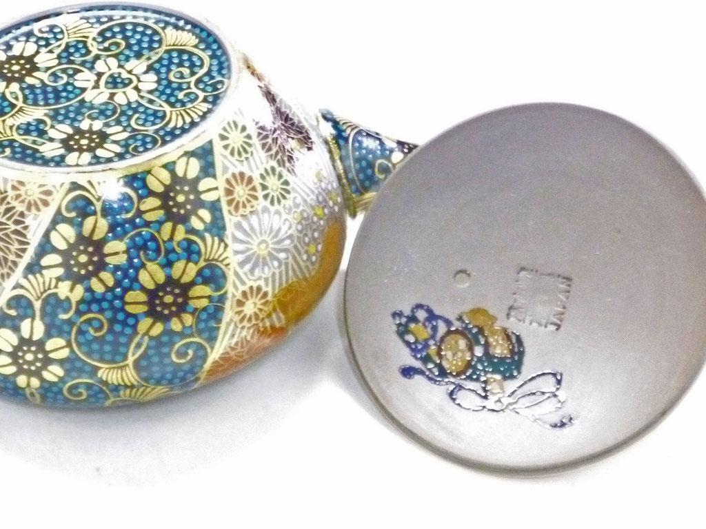 九谷焼通販 おしゃれな急須 茶器 萬古焼 小 青粒+金花詰(傑作)裏絵  蓋裏と裏絵の図