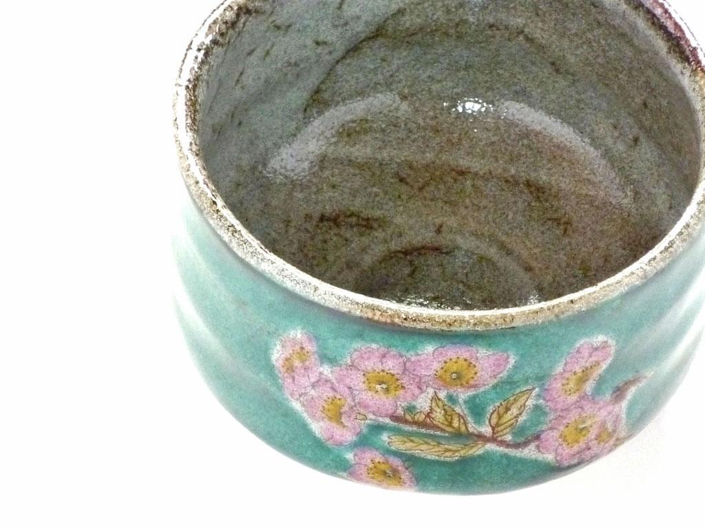 九谷焼【抹茶碗】ソメイヨシノ緑塗り