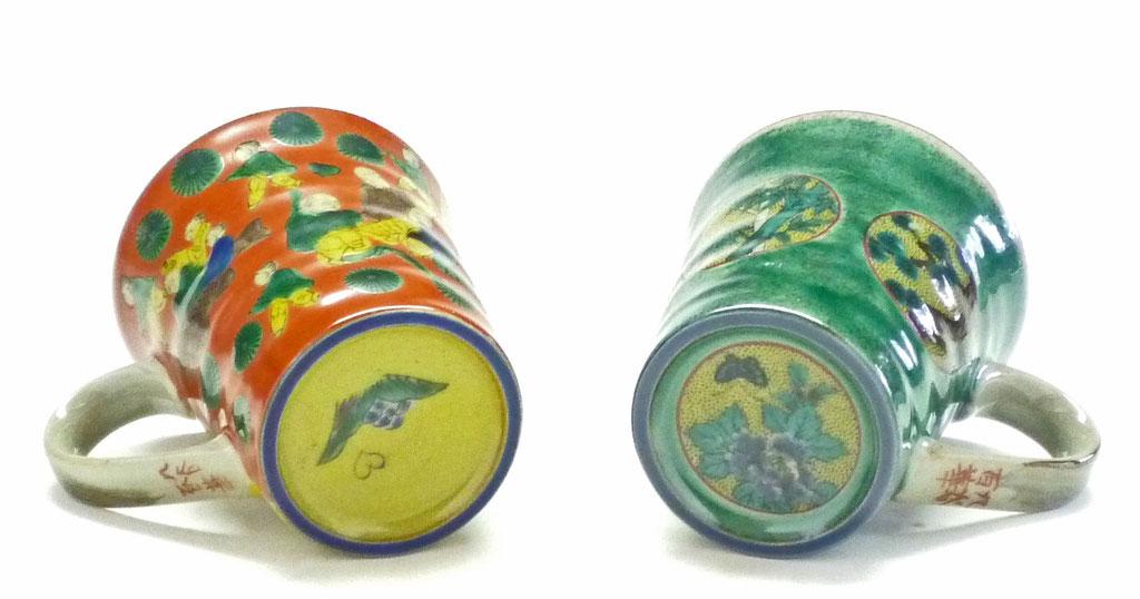 九谷焼【ペアマグカップ】吉田屋木米ツートン&丸紋松竹梅緑塗り 裏絵