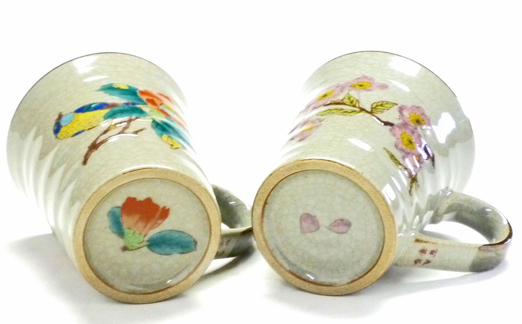 九谷焼通販 おしゃれ ギフト マグカップ マグ ペア セット 椿に鳥&ソメイヨシノ 裏絵の図