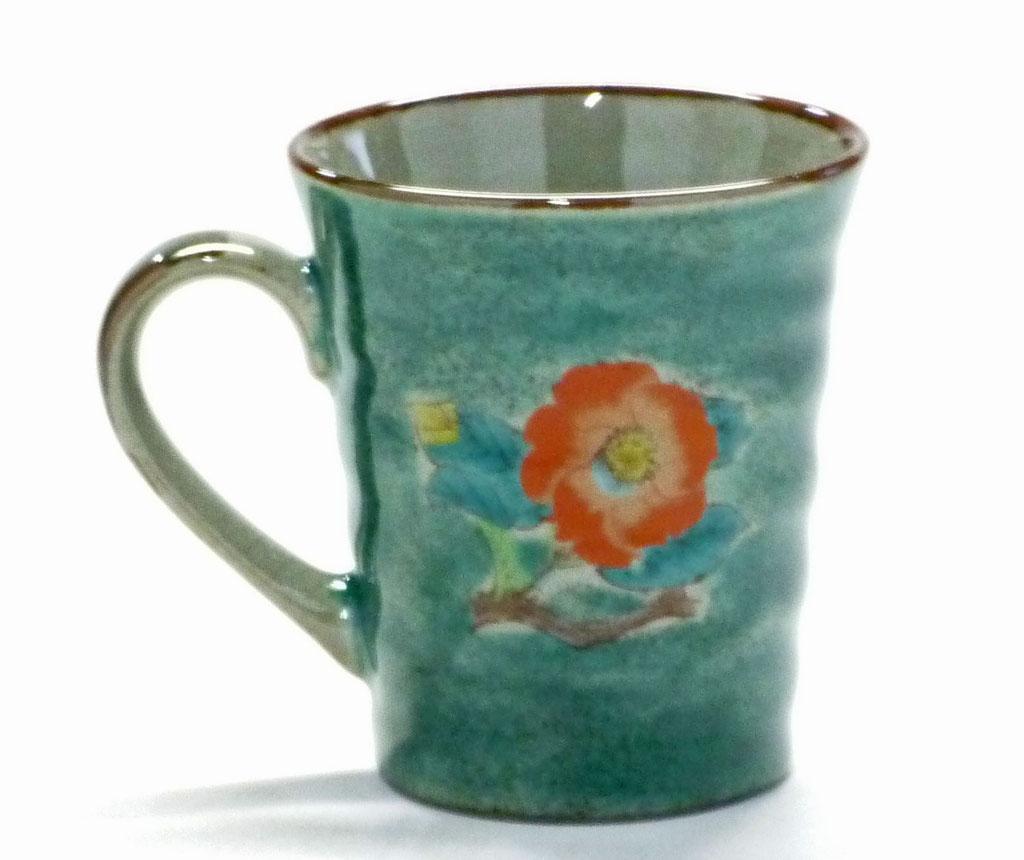 九谷焼【マグカップ】椿に鳥 緑塗り【裏絵】