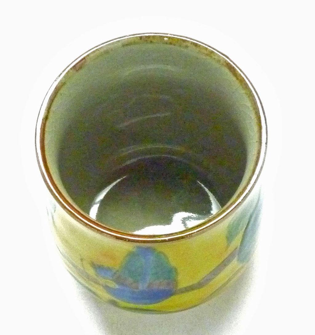 九谷焼【お湯呑】大 新 吉田屋(濃い塗り)花鳥 裏絵
