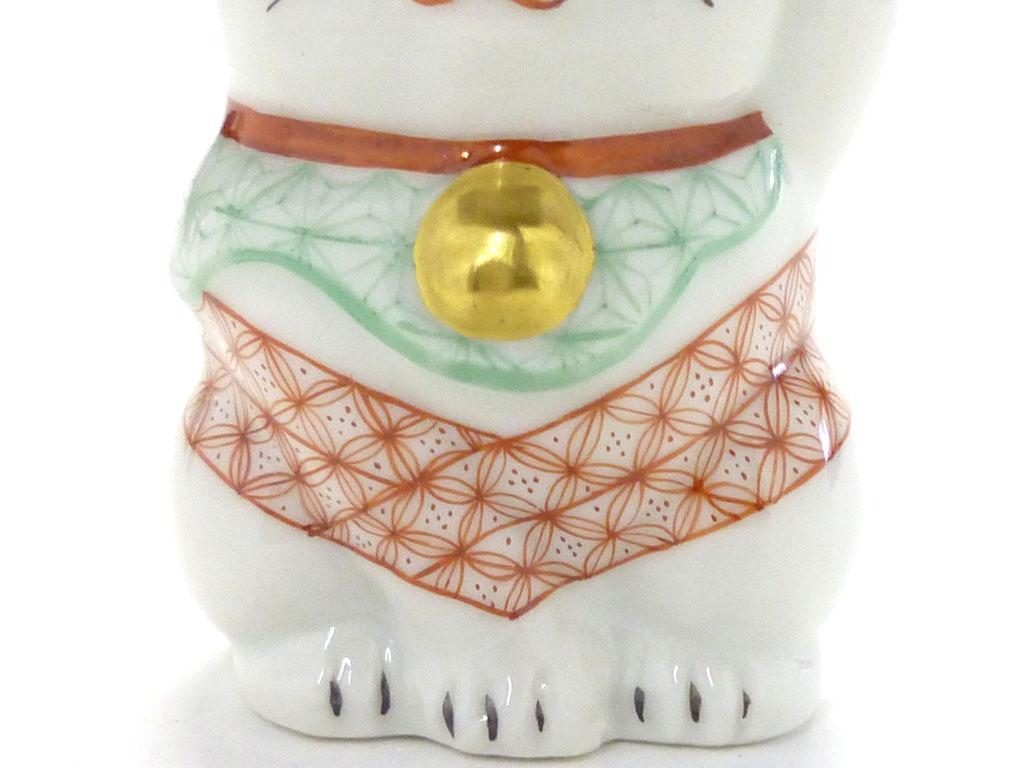 九谷焼通販 おしゃれ 招き猫 インテリア 幸福 チビ招き猫 左手 赤絵細描(千客万来)木箱入り 本金 鈴の図