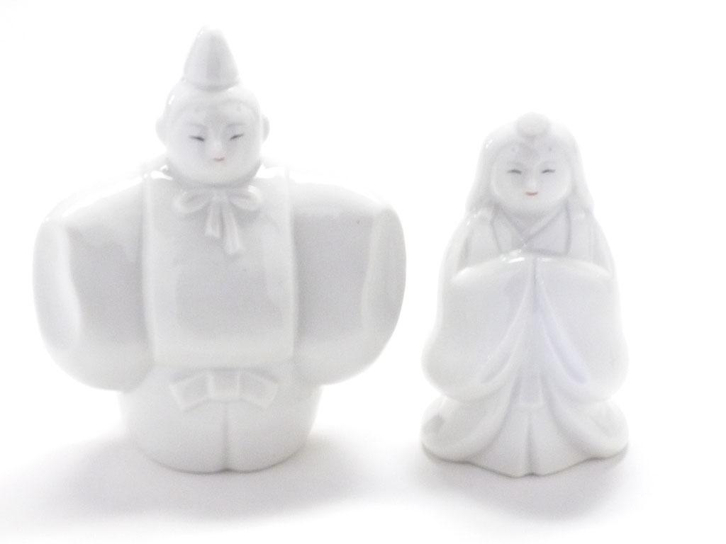 九谷焼 雛人形 お雛様 初節句 ホワイト 立雛 4号 裏書 木箱台付 正面の図