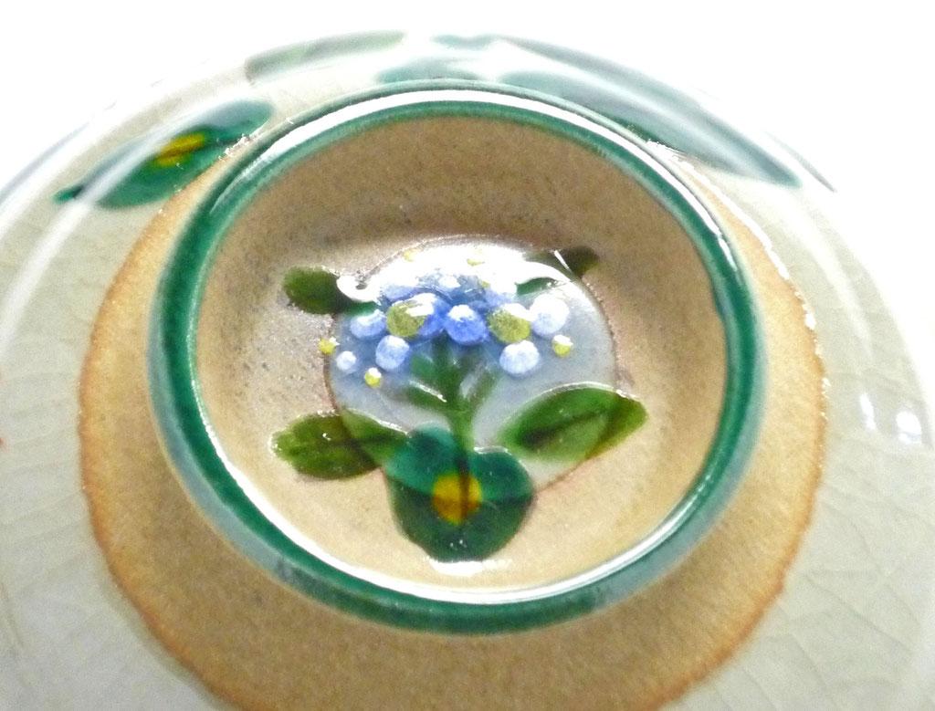 九谷焼通販 おしゃれな飯碗 ご飯茶碗 がく紫陽花ピンク+ブルー裏絵