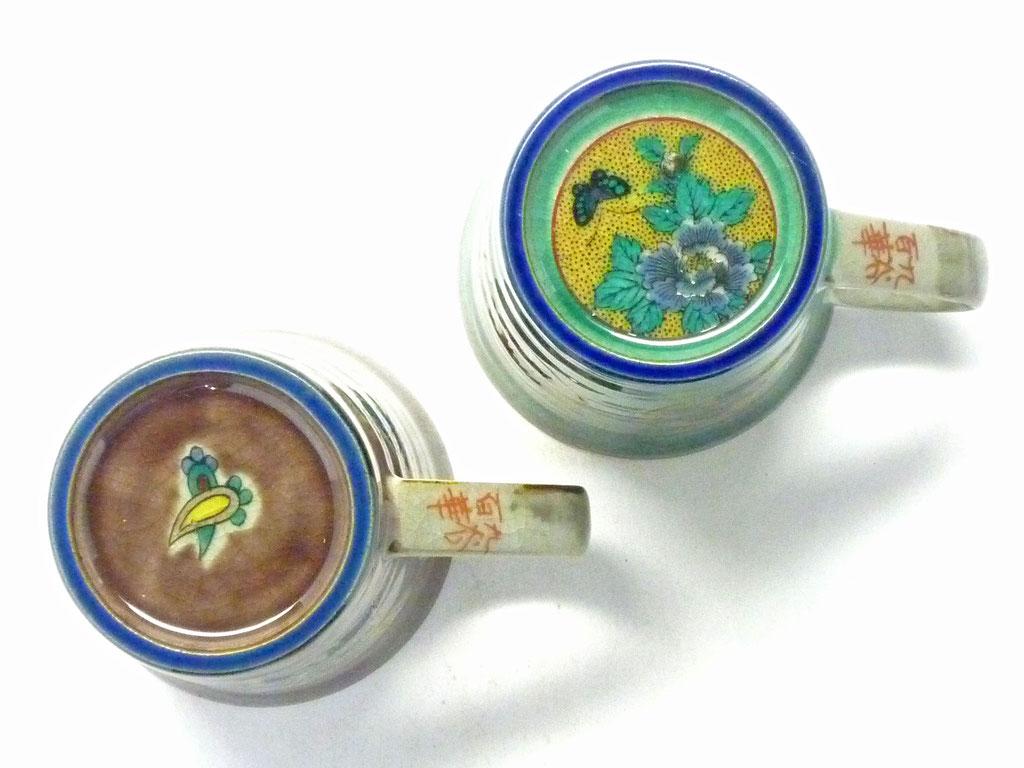 九谷焼通販 おしゃれ ギフト マグカップ マグ ペア セット 宝尽くし紫塗り&丸紋松竹梅緑塗り 裏絵の図