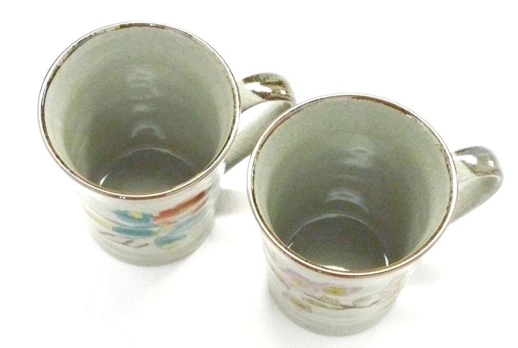 九谷焼通販 おしゃれ ギフト マグカップ マグ ペア セット 椿に鳥&ソメイヨシノ 裏絵 上からの図