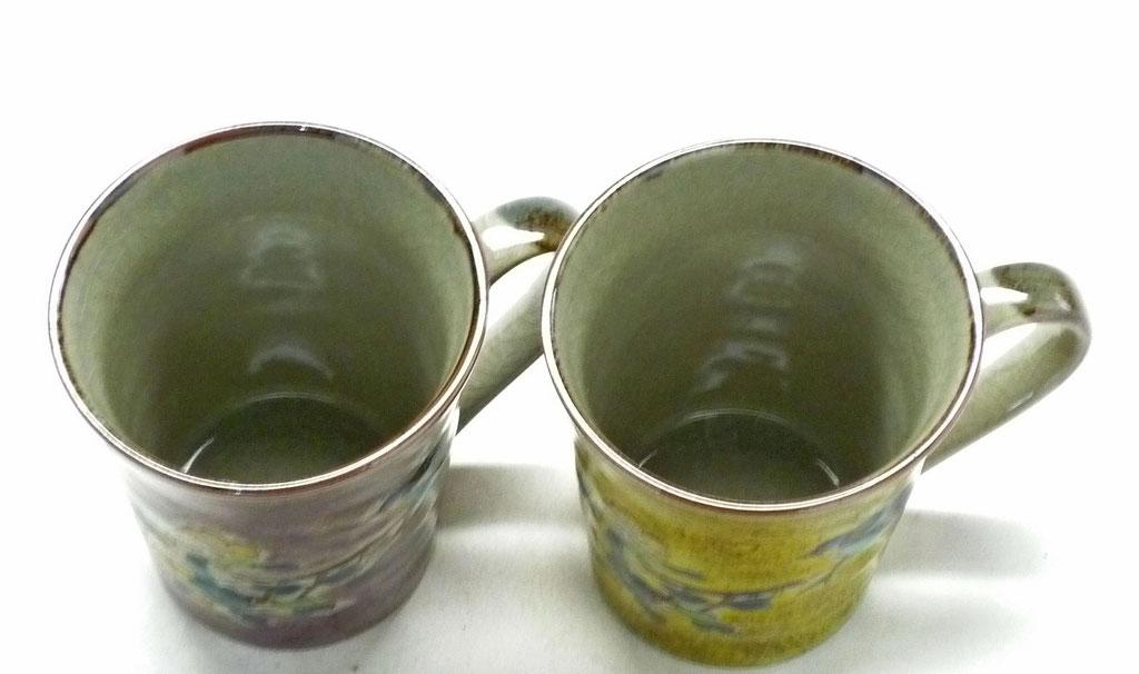 九谷焼【ペアマグカップ】金糸梅に鳥 紫&黄塗り 裏絵