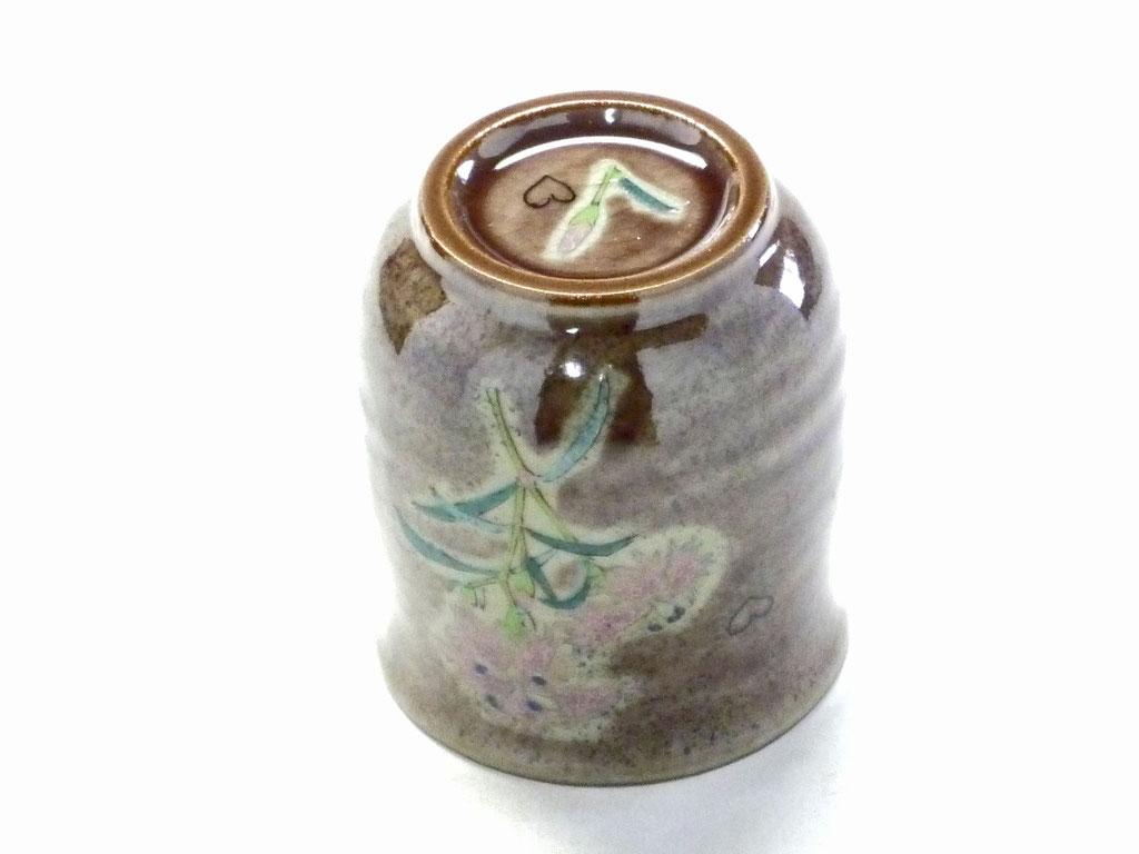 九谷焼【お湯呑】大 紫塗り なでしこ【裏絵】