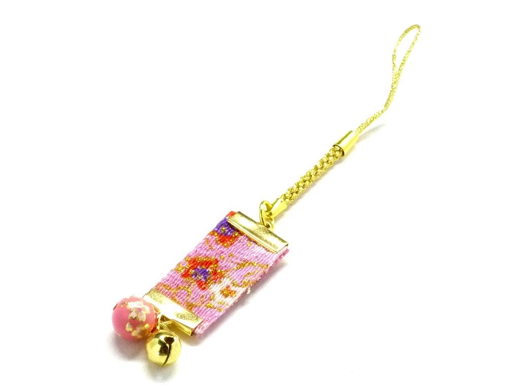 九谷焼×加賀友禅風【ストラップ】(ピンク系)【鈴付】