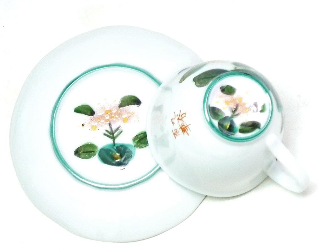 九谷焼通販 おしゃれ ギフト カップ&ソーサー コーヒカップ コーヒー碗  磁器 がく紫陽花 裏絵