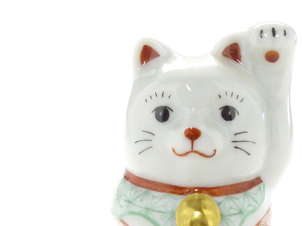 九谷焼通販 おしゃれ 招き猫 インテリア 幸福 チビ招き猫 左手 赤絵細描(千客万来)木箱入り お顔の図