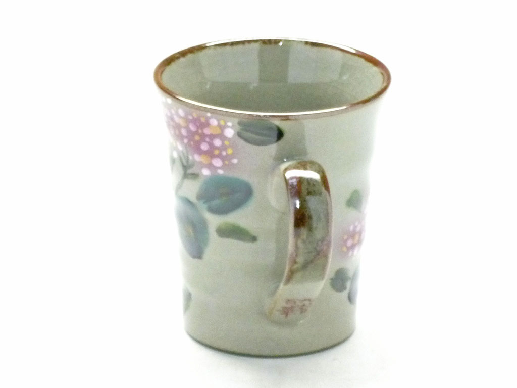 九谷焼【マグカップ】がく紫陽花 ピンク&ピンク【背中・裏絵】ピンク