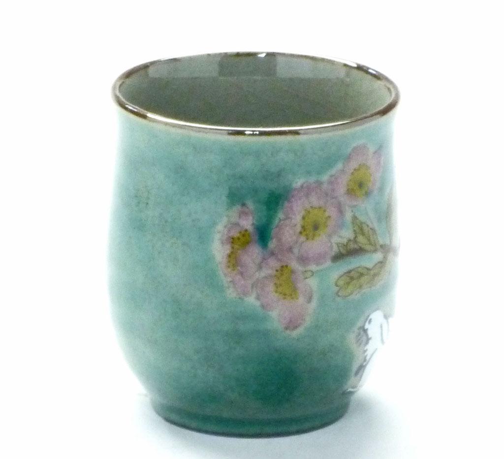 九谷焼通販 お湯呑 湯飲み ゆのみ茶碗 おしゃれ 小 白兎ソメイヨシノ緑塗り 裏絵 横の図