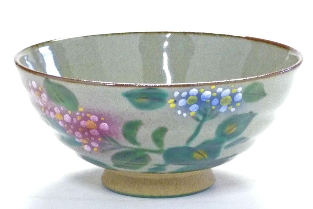 九谷焼通販 おしゃれ ギフト 飯碗 ご飯茶碗 ちゃわん 大 がく紫陽花 花柄 あじさい 裏絵
