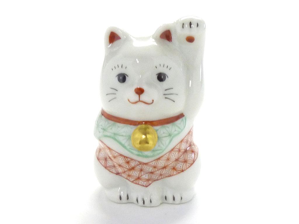 九谷焼通販 おしゃれ 招き猫 インテリア 幸福 チビ招き猫 左手 赤絵細描(千客万来)木箱入り 正面の図